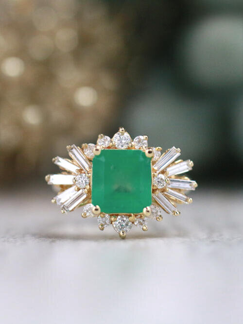 Emerald Ring | 3CT Emerald | Baguette Diamond | Solid 14k Gold Cocktail Ring| Natural Emerald
