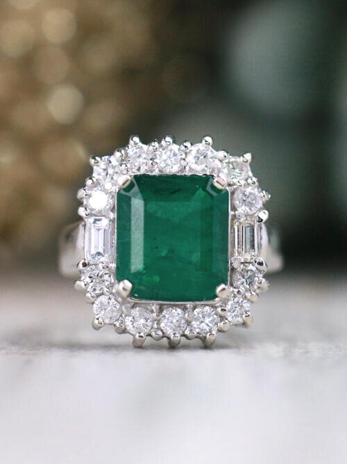 3.39CT Natural Emerald and 1.04CT Diamond Fancy Solid 14 Karat Gold Cocktail Ring