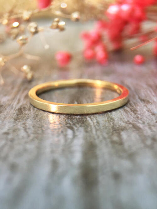 1.3MM Wedding Band Solid 14K Yellow Gold (14KY) Thin Minimalist Stackable Women's Engagement Ring