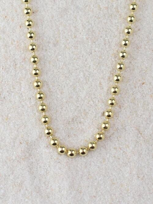3MM Solid 14 Karat Gold Ball Chain Necklace
