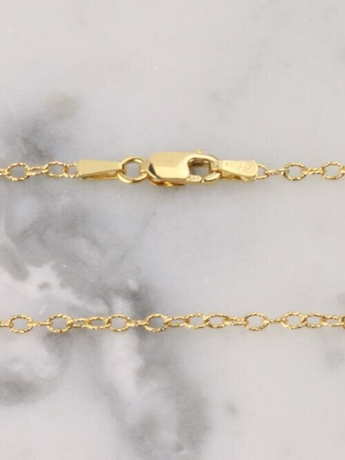Sparkly Oval Beaded Solid 14 Karat Gold Chain