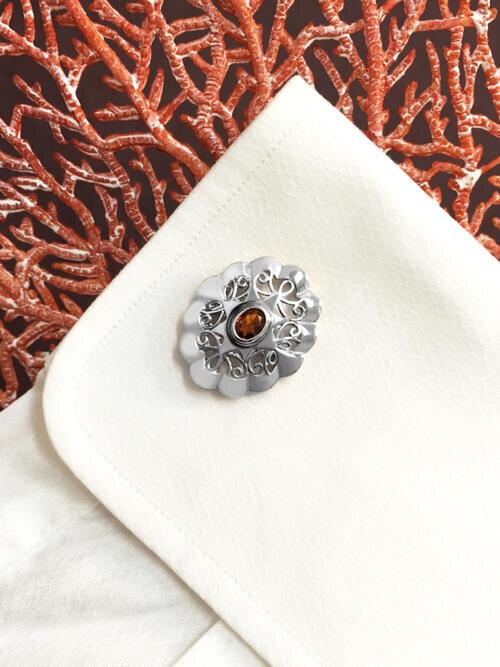 Cognac-Orange Tourmaline <Bezel> Solid 14K White Gold (14KW) Colored Stone Men's Cufflink