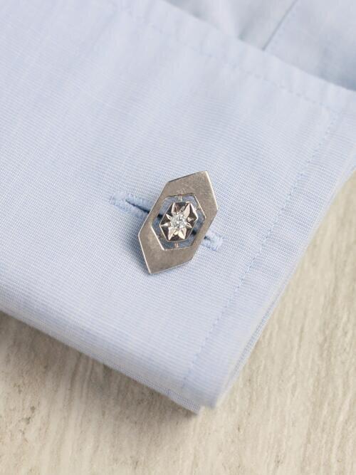 Diamond Satin Finish <Prong> Solid 14K Rose Gold (14KR) Geometric Men's Cufflinks