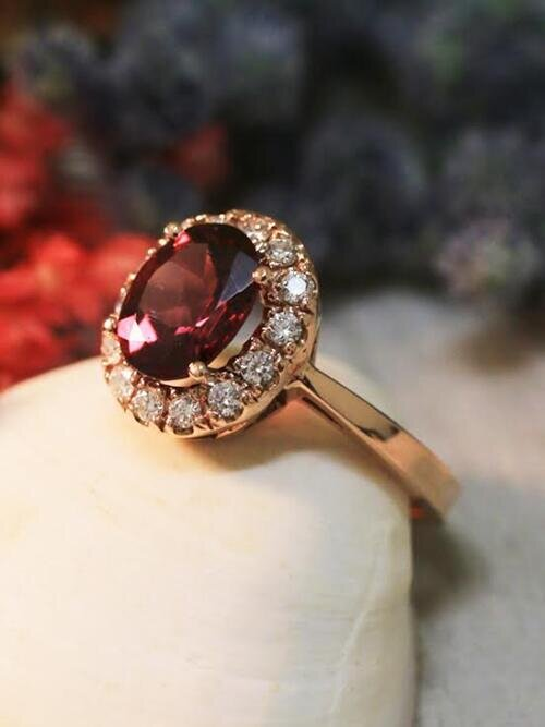Rhodolite Garnet and Diamond Ring | 9x7 Raspberry Garnet | Gemstone Engagement Ring | Solid 14K Gold Ring | Fine Jewelry | Free Shipping