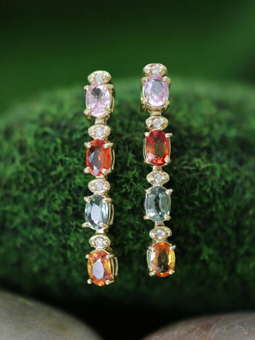 6x4MM Multicolor Sapphire and Diamond Dangle <Prong> Solid 14K Yellow Gold (14KY) Colored Stone Earrings