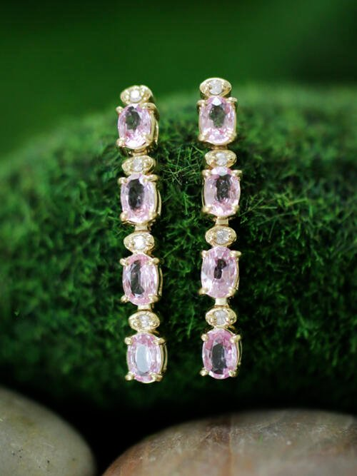 6x4MM Pink Sapphire and Diamond Dangle <Prong> Solid 14K Yellow Gold (14KY) Colored Stone Earrings