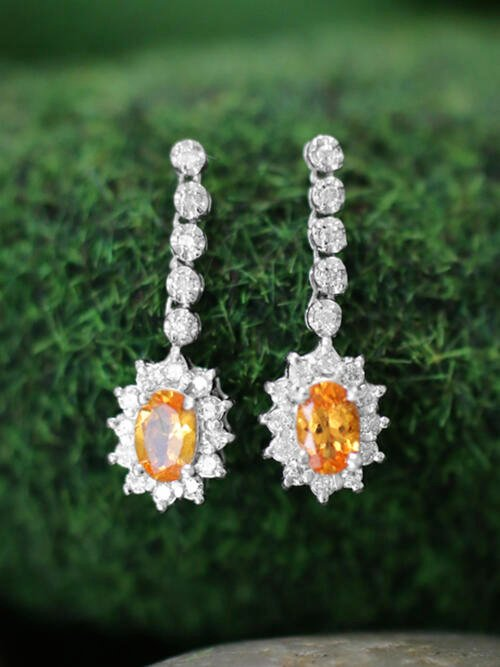 6x4MM Mandarine Garnet and Diamond Halo Dangle <Prong> Solid 14K White Gold (14KW) Colored Stone Earrings