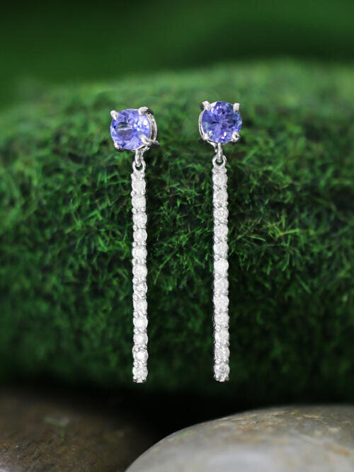 Tanzanite and Diamond Chandelier Dangle <Prong> Solid 14K White Gold (14KW) Colored Stone Drop Earrings