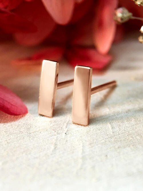 7.7x2.2MM Bar Stud Solid 14K Rose Gold (14KR) Geometric Minimalist Earrings