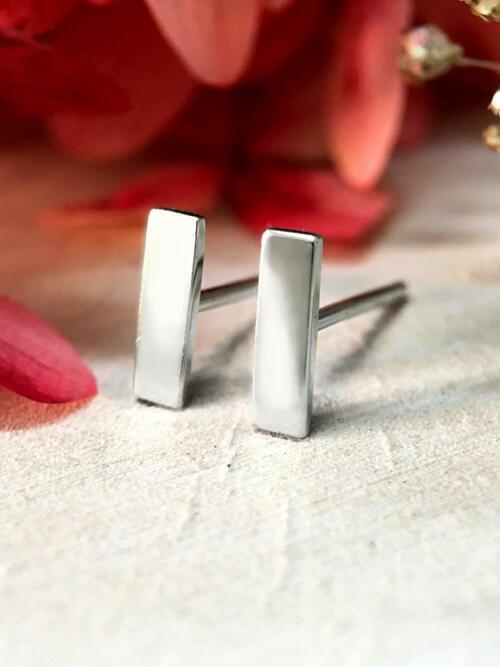 7.7x2.2MM Bar Stud Solid 14K White Gold (14KW) Geometric Minimalist Earrings