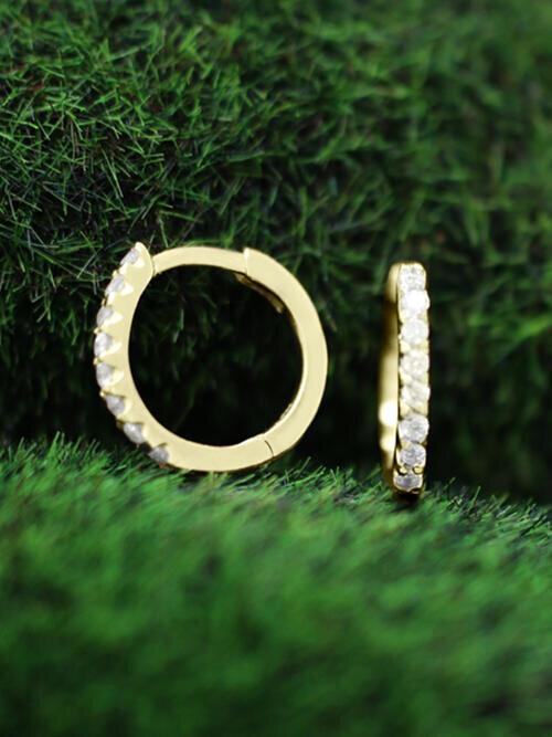 12.5MM Diamond Hoop <Prong> Solid 14K Yellow Gold (14KY) Minimalist Huggie Earrings