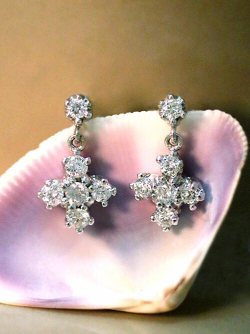 Diamond Dangle Earrings | Solid 14K Gold | Cross | Diamond Earrings | April Birthstone | Push Back | Fine Jewelry | Free Shipping