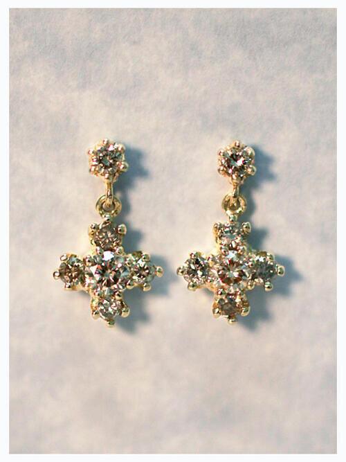 Champagne Diamond Dangle Earrings | Solid 14K Gold | Cross | Diamond Earrings | April Birthstone | Push Back | Fine Jewelry | Free Shipping