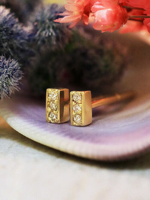 Diamond Bar Earrings | Extra Small Studs | Cartilage Piercing | Pave | Solid 14K Gold | April Birthstone | Fine Jewelry | Free Shipping