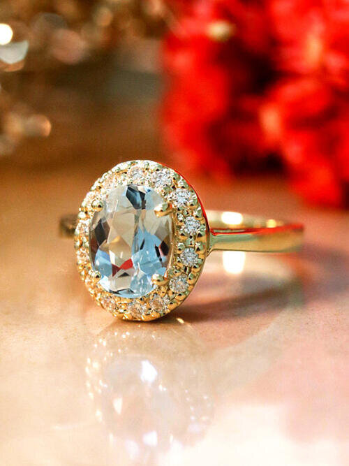 gemstone ring diamond birthstone halo fine engagement free stone solid jewelry shipping gold aquamarine march rings il colored