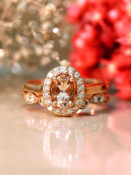 Gemstone Engagement Ring Set | Morganite Ring and Matching Diamond Wedding Band | Solid 14K Gold | October | Fine Jewelry | Free Shipping