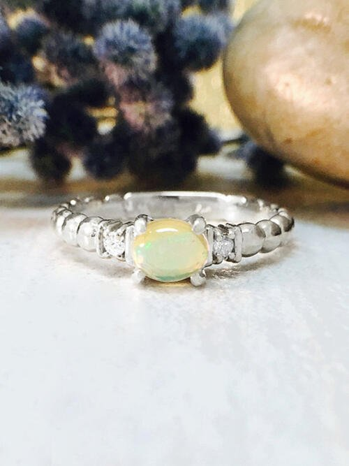 Opal and Diamond Ring | Gemstone Engagement Ring | 6x4mm Ethiopian Opal Ring | Solid Gold | 14K White Gold | Fine Jewelry | Free Shipping