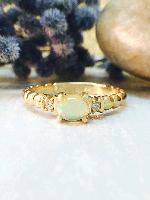 Opal and Diamond Ring | Gemstone Engagement Ring | 6x4mm Ethiopian Opal Ring | Solid Gold | 14K Yellow Gold | Fine Jewelry | Free Shipping