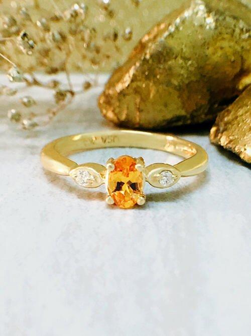 Mandarin Garnet and Diamond Ring | Gemstone Engagement Ring | 5x3MM Mandarin Garnet | Solid 14K Yellow Gold | Fine Jewelry | Free Shipping