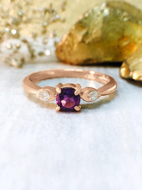Amethyst and Diamond Ring | Gemstone Engagement Ring | 4x4MM Purple Amethyst Ring | Solid 14K Rose Gold | Fine Jewelry | Free Shipping