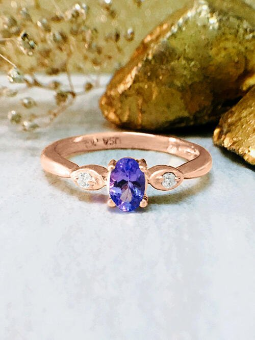 Tanzanite and Diamond Ring | Gemstone Engagement Ring | 5x3MM Tanzanite Ring | Solid 14K Rose Gold | Fine Jewelry | Free Shipping