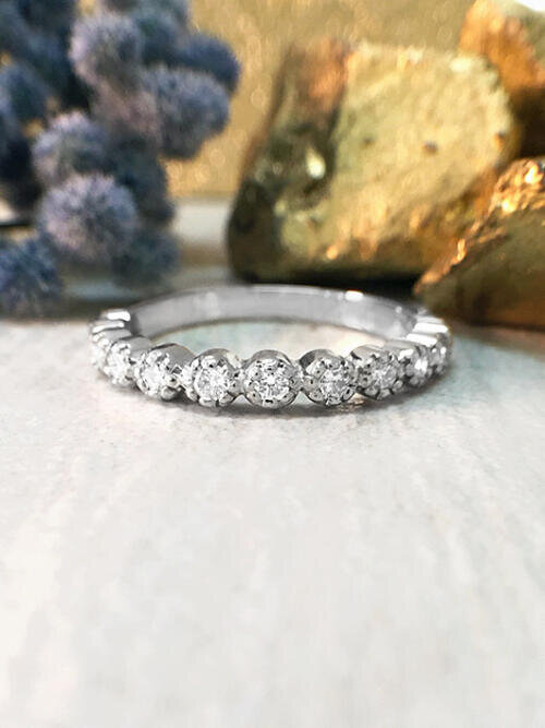 Diamond Band | Diamond Wedding Band | Engagement Ring | Stackable Ring | 14K White Gold Ring | Solid Gold Ring | Fine Jewelry | Free Shipping