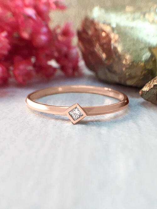 Diamond Ring | Princess Cut Diamond Solitaire Ring | 0.03CT Diamond | Stackable Ring | Solid 14K Rose Gold | Fine Jewelry | Free Shipping