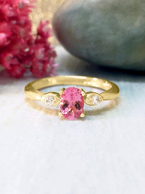 Pink Sapphire and Diamond Ring | Gemstone Engagement Ring | 6x4MM Pink Sapphire Ring | Solid 14K Yellow Gold | Fine Jewelry | Free Shipping