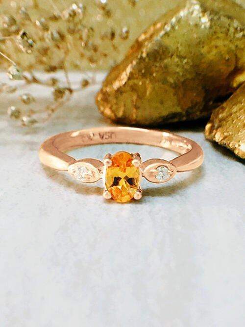 Mandarin Garnet and Diamond Ring | Gemstone Engagement Ring | 5x3MM Mandarin Garnet | Solid 14K Rose Gold | Fine Jewelry | Free Shipping