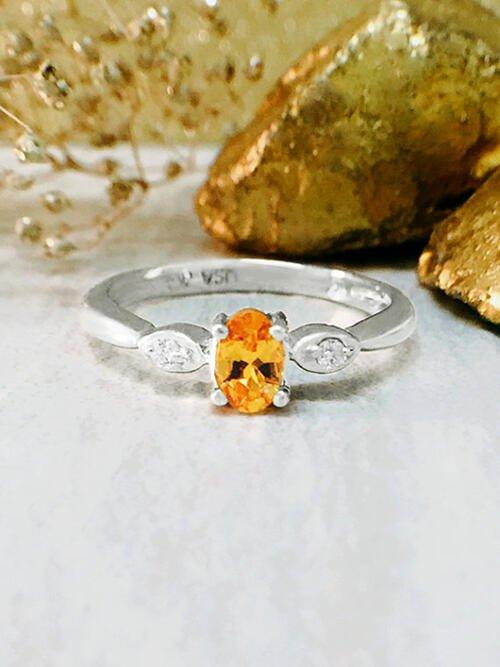 Mandarin Garnet and Diamond Ring | Gemstone Engagement Ring | 5x3MM Mandarin Garnet | Solid 14K White Gold | Fine Jewelry | Free Shipping