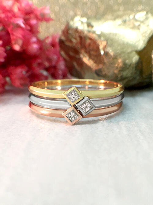 Stackable Diamond Rings | Princess Cut Diamond Solitaires | Solid 14K White, Yellow, and Rose Gold | Fine Jewelry | Free Shipping
