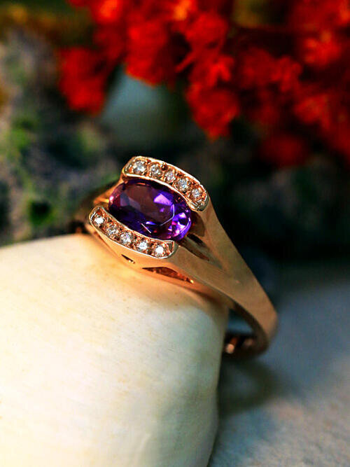Amethyst and Diamond Ring | Solid 14K Gold | Gemstone | Colored Stone | Engagement Ring | Purple | Rose Gold | Fine Jewelry | Free Shipping