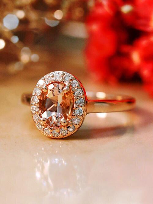 Morganite Ring | Diamond Halo | Solid 14K Gold | Gemstone Engagement Ring | October Birthstone | Fine Jewelry | Free Shipping
