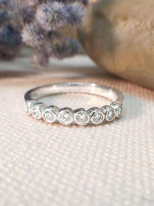 Diamond Wedding Band | Diamond Ring | Diamond Band | Bezel Setting | 2.6MM Band | Solid 14K White Gold Ring | Fine Jewelry | Free Shipping