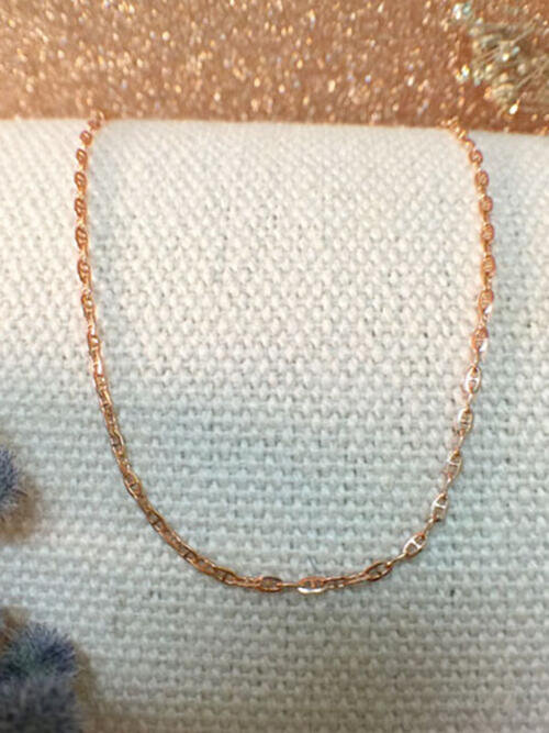 Modified Link Chain Necklace | Solid 14K Rose Gold Chain | Rose Gold Chain | 16 Inches | Spring Lock | Fine Jewelry | Free Shipping