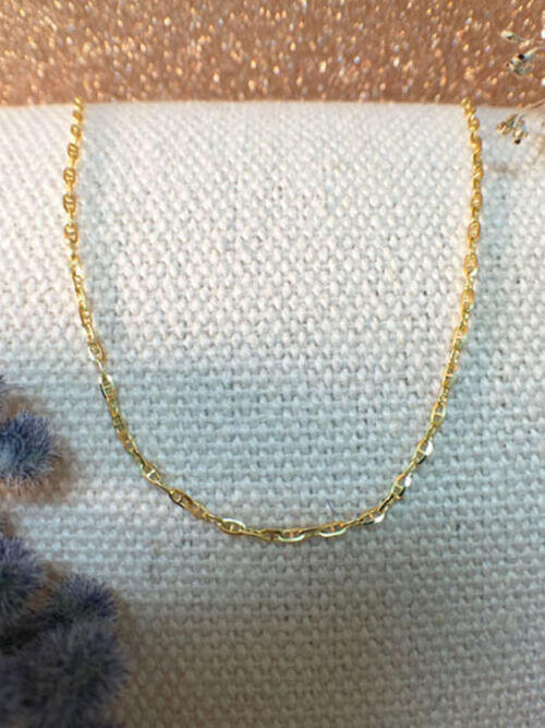 Modified Link Chain Necklace | Solid 14K Yellow Gold Chain | Yellow Gold Chain | 16 Inches | Spring Lock | Fine Jewelry | Free Shipping