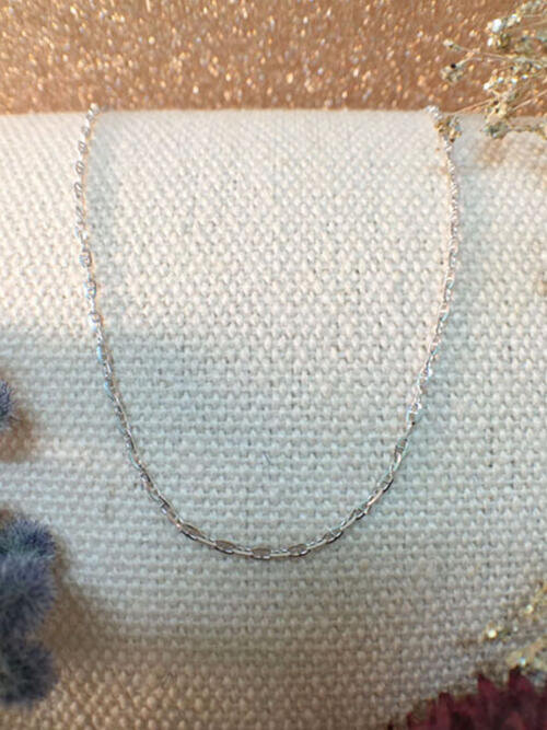 Modified Link Chain Necklace | Solid 14K White Gold Chain | White Gold Chain | 16 Inches | Spring Lock | Fine Jewelry | Free Shipping