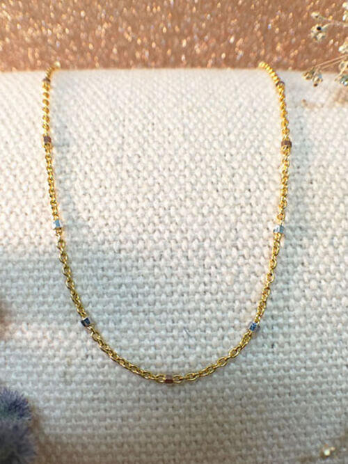 Link Chain Necklace with Square Cubes | Solid 14K Yellow Gold Chain | Yellow Gold Chain | 16 Inches | Spring Lock | Fine Jewelry | Free Shipping