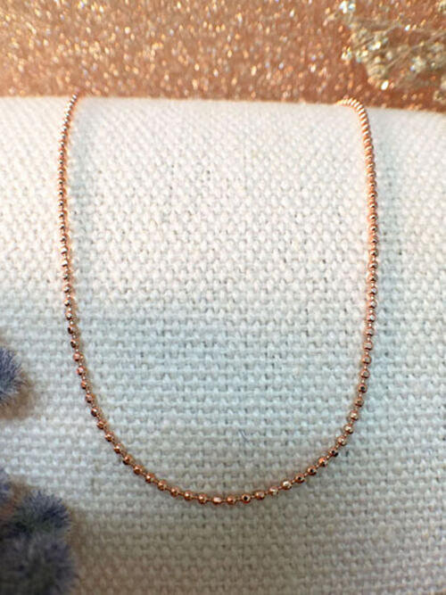 Solid 14K Rose Gold Ball Chain Necklace | Rose Gold Chain | 18 Inches | Spring Lock | Fine Jewelry | Free Shipping