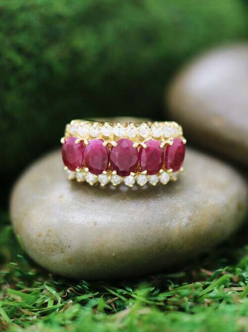 Ruby and Diamond Band <Prong> Solid 14K Yellow Gold (14KY) Colored Stone Estate Ring