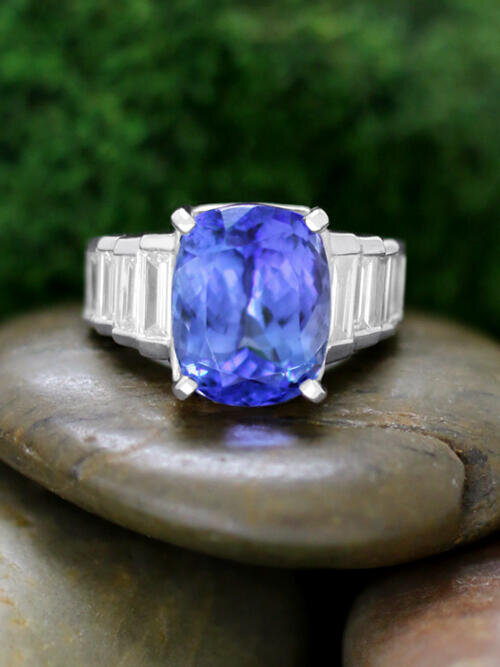 ONE-OF-A-KIND: Tanzanite and Baguette Diamond Cocktail <Channel > Solid14K White Gold (14KW) Estate Ring