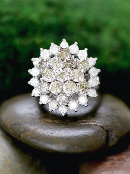 Champagne and White Diamond Cluster Cocktail <Prong> Solid 14K White Gold (14KW) Estate Ring