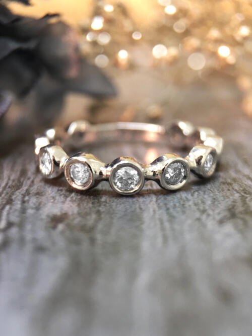 Diamond Eternity with Sizing Bar Wedding Band <Bezel> Solid 14K White Gold (14KW) Stackable Ring