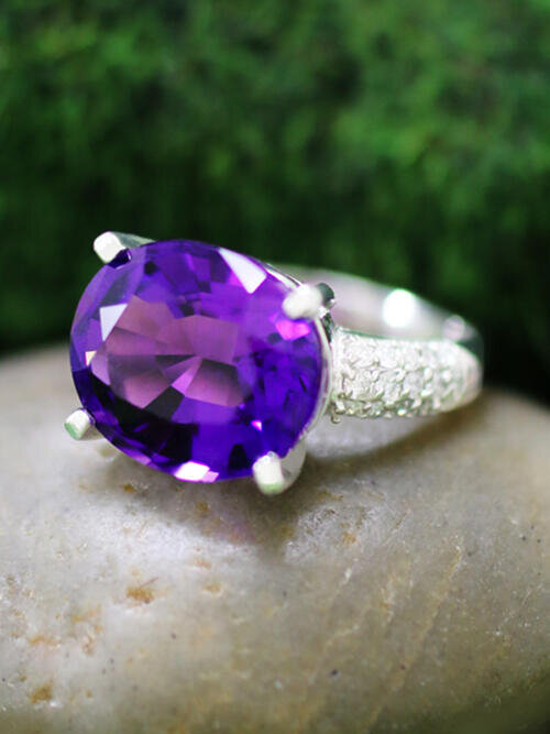 Amethyst and Diamond Solid 14K White Gold (14KW) Cocktail Ring *Fine Jewelry*