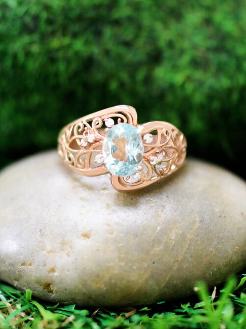 Aquamarine and Diamond Vine Filigree Engagement <Prong> Solid 14K Rose Gold (14KR) Colored Stone Wedding Ring