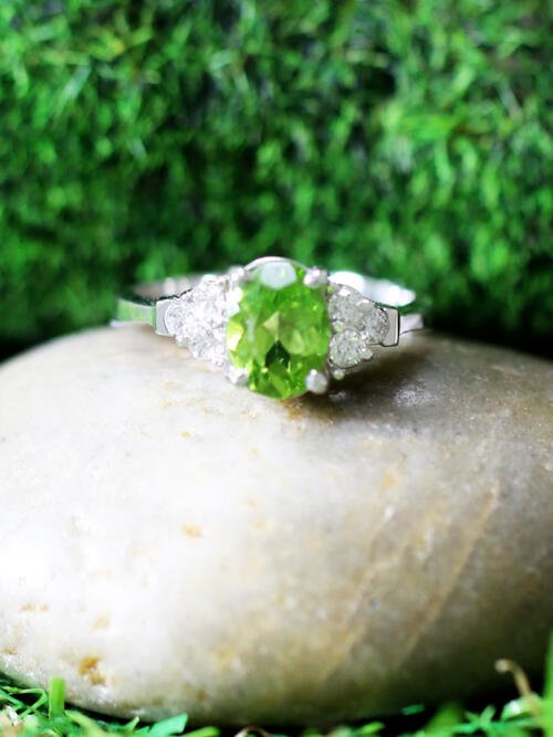 5x7MM Peridot and Diamond Engagement <Prong> Solid 14K White Gold (14KW) Colored Stone Wedding Ring