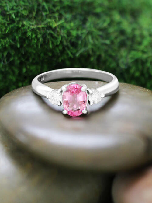 5x7MM Pink Sapphire and Diamond Engagement <Prong> Solid 14K White Gold (14KW) Colored Stone Wedding Ring
