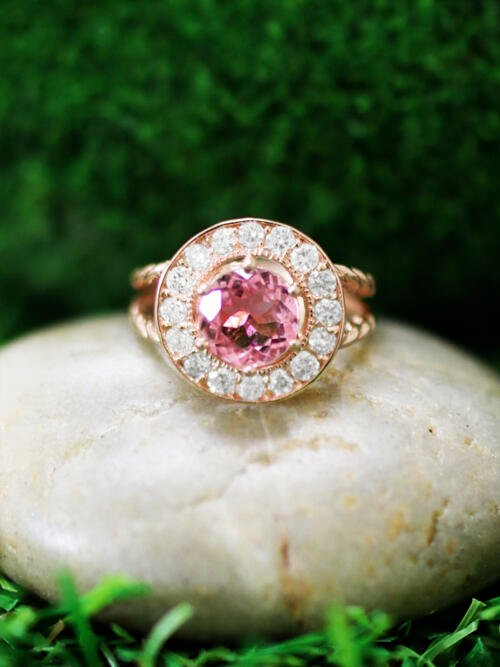 Pink Tourmaline and Diamond Halo Engagement <Prong> Solid 14K Rose Gold (14KR) Colored Stone Wedding Ring