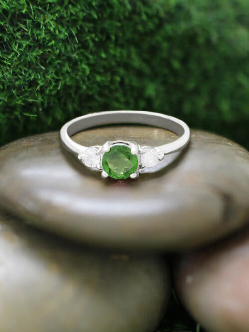 5x5MM Green Tourmaline and Diamond Engagement <Prong> Solid 14K White Gold (14KW) Colored Stone Wedding Ring