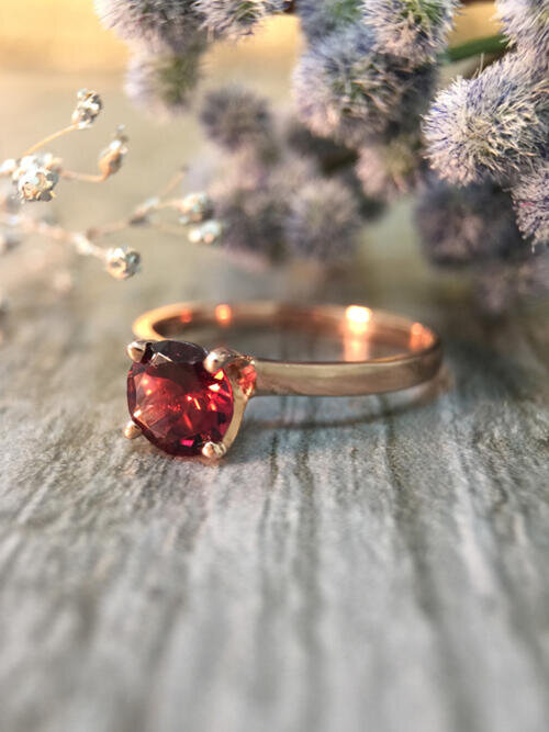 Raspberry Tourmaline Solitaire Engagement <Prong> Solid 14K Rose Gold (14KR) Colored Stone Wedding Ring